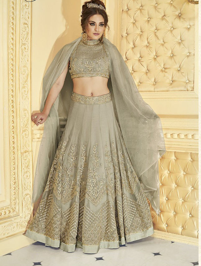 Latest Grey Color Party Wear Lehenga Choli