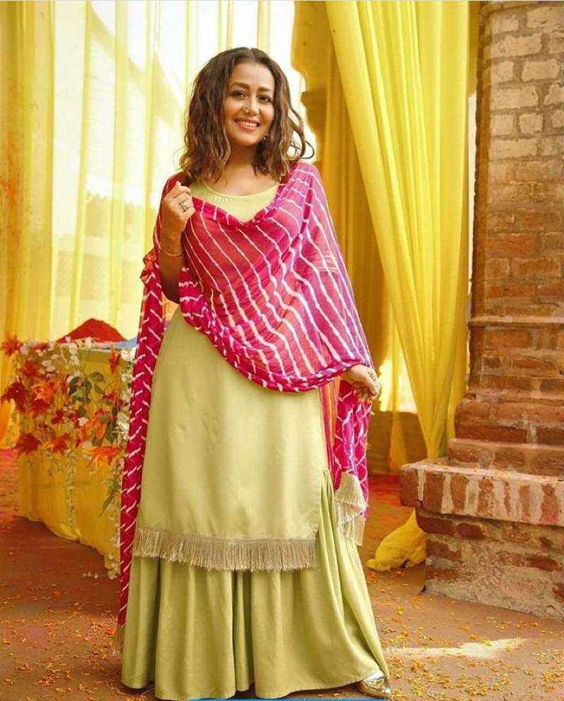 Latest Pista Color Bollywood Neha Kakkar Sharara Suit