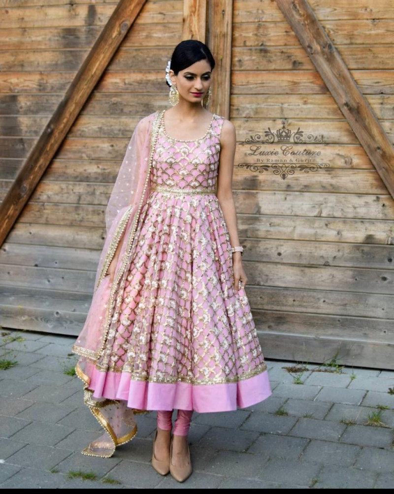 Light Pink Color Net And Sequence Work Anarkali Suit
