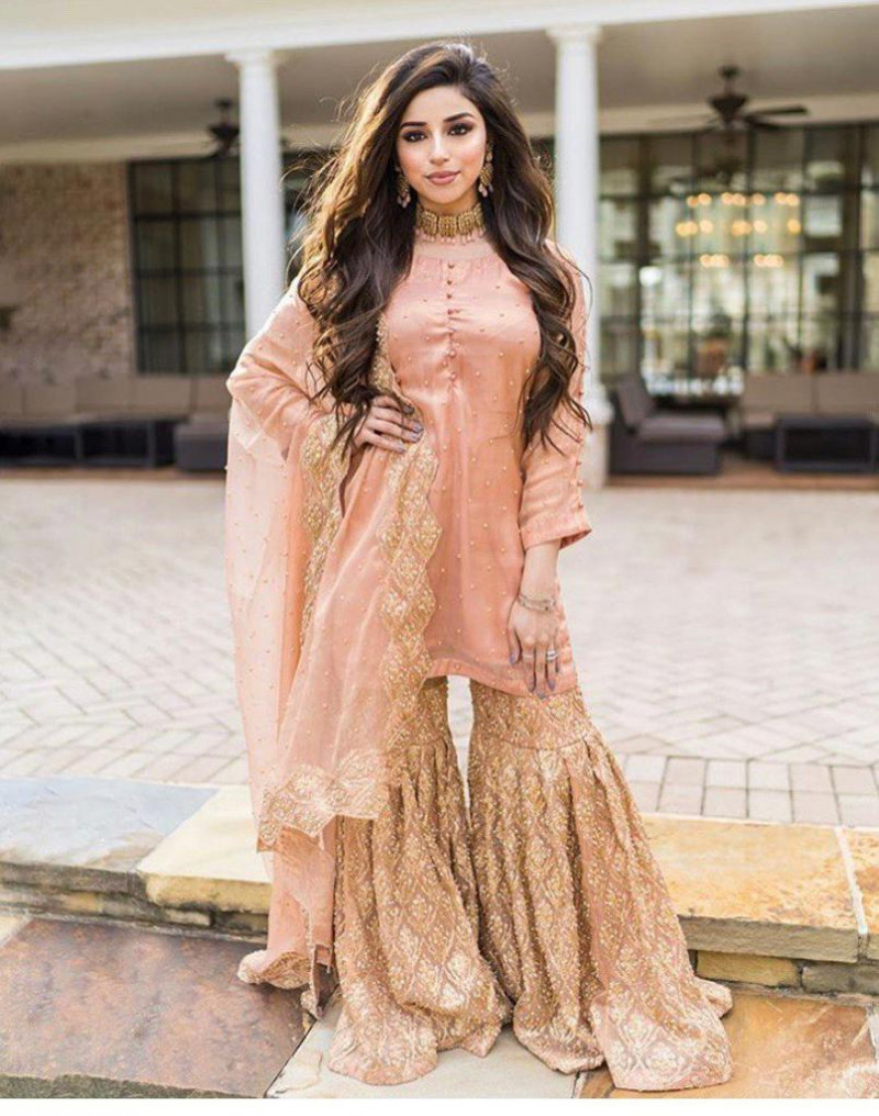 Peach Color Party Wear Georgette With Embroidery Sharara Suit