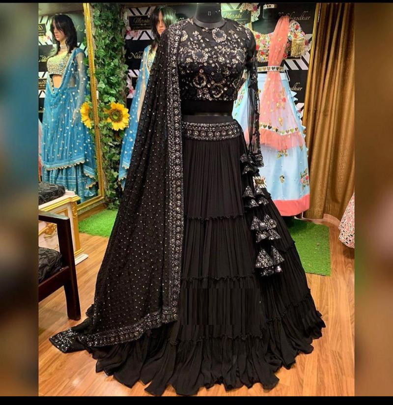 Beautiful Black Color Lehenga Design
