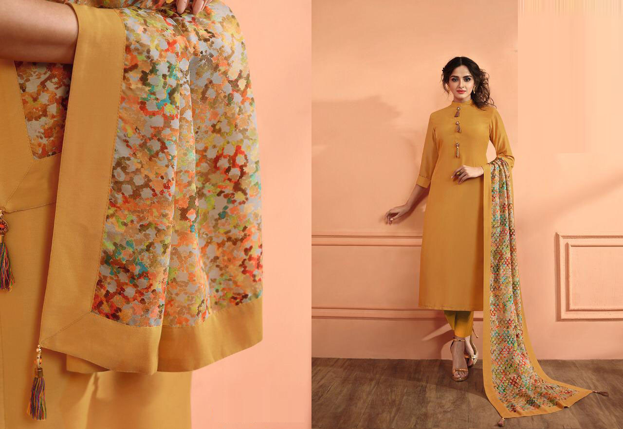 Mustard Yellow Color Drees Material