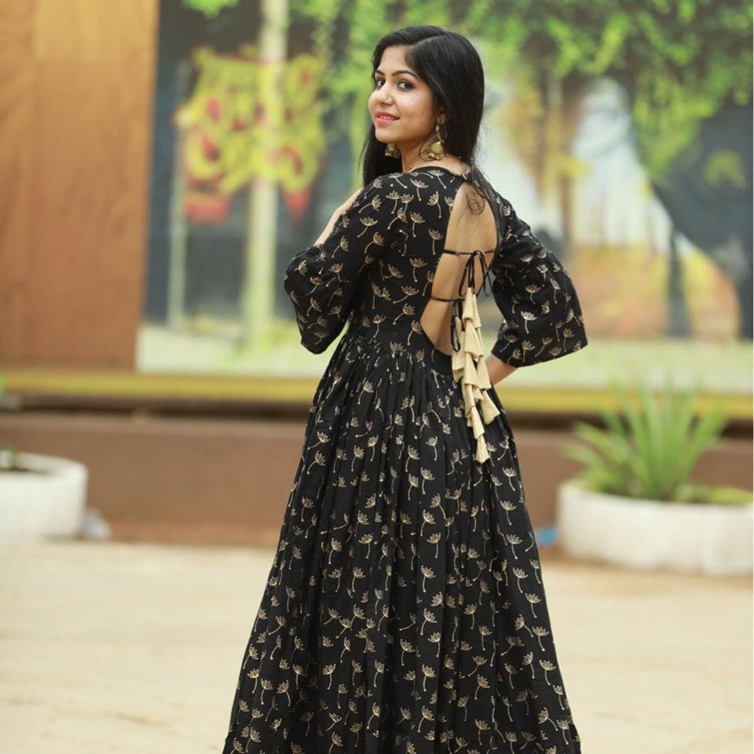 New Black Color Gown