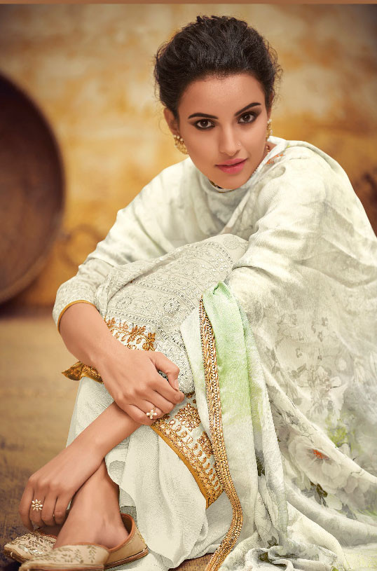New Stylist White Color Georgette Salwar Suit
