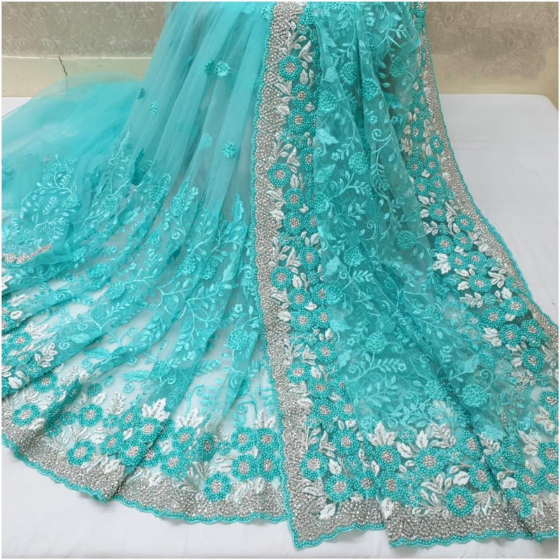Buy Preferable Sky Blue Color Soft Net Embroidered Motti Ceramic Jarkhand Work Saree Blouse For Wedding Wear