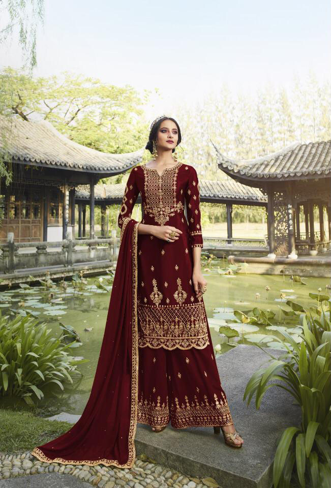 Maroon Color Plazzo Suit Collection
