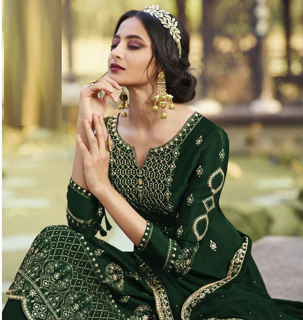 Green Color Georgette With Embroidery Work Party Wear Palazzo Suit