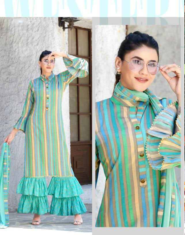 Sky Color Sharara Top With Dupatta