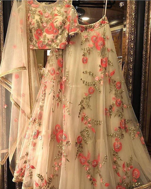 Bollywood Style Cream Color Heavy Embroidery Work Lehenga Choli