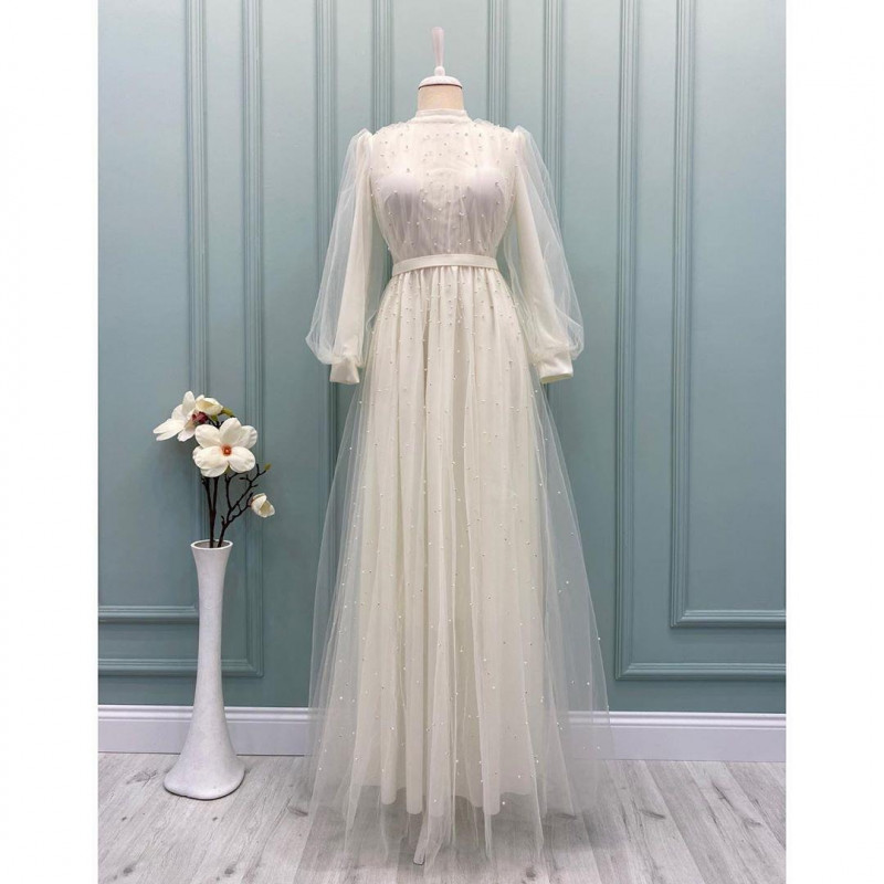 White Color Flare Gown For Women