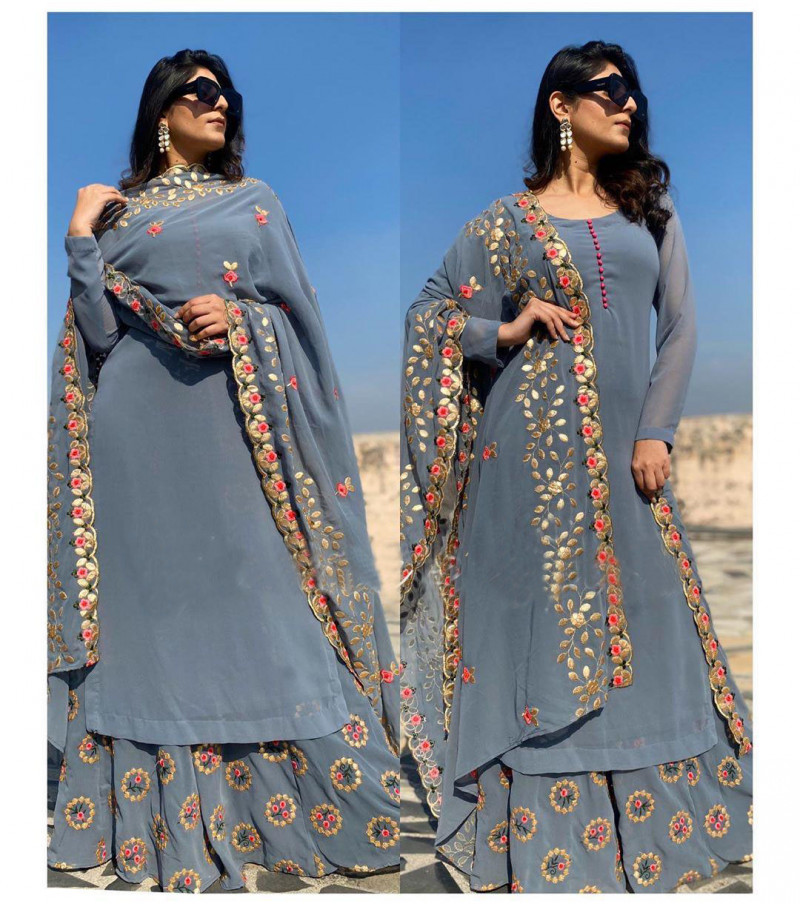 New Grey Color Georgette With Embroidery Work Palazzo Suit