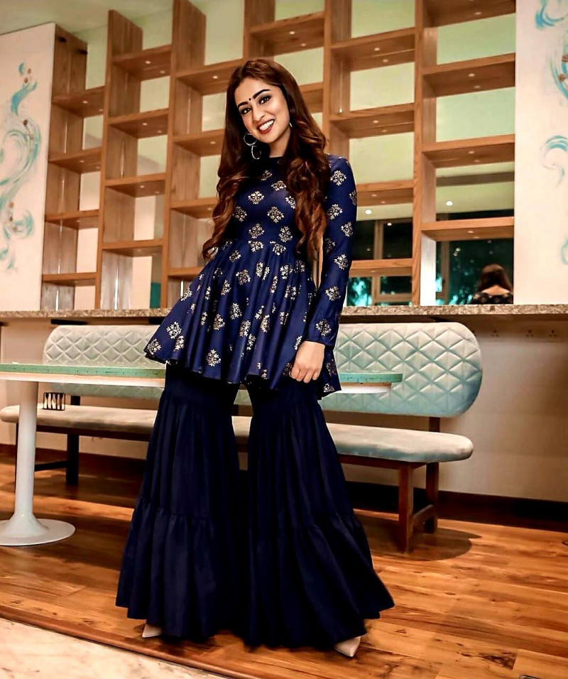 Beautiful Navy Blue Color Sharara Suit Online