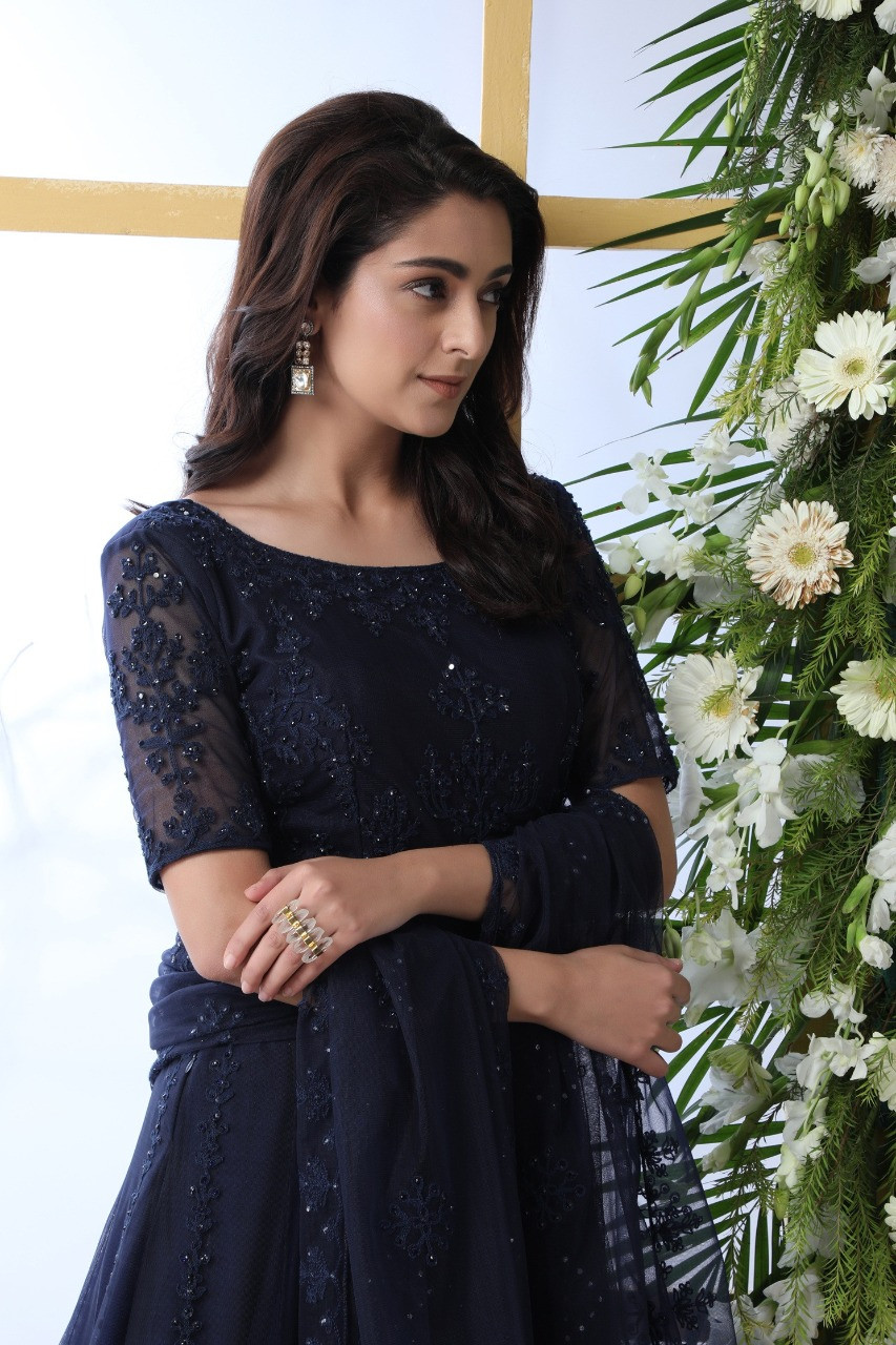 Navy Blue Net Gown with Hand Work