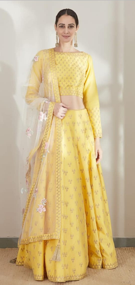 Stylish Yellow Color Heavy Embroidery Zari Work Lehenga Choli
