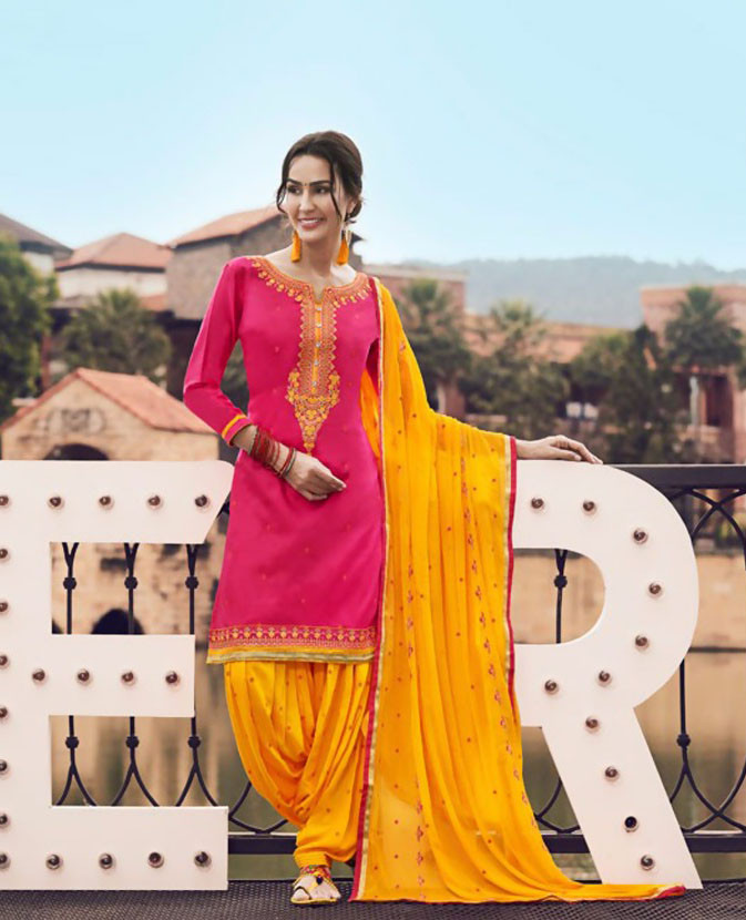 Latest Pink Color Patiyala Suit