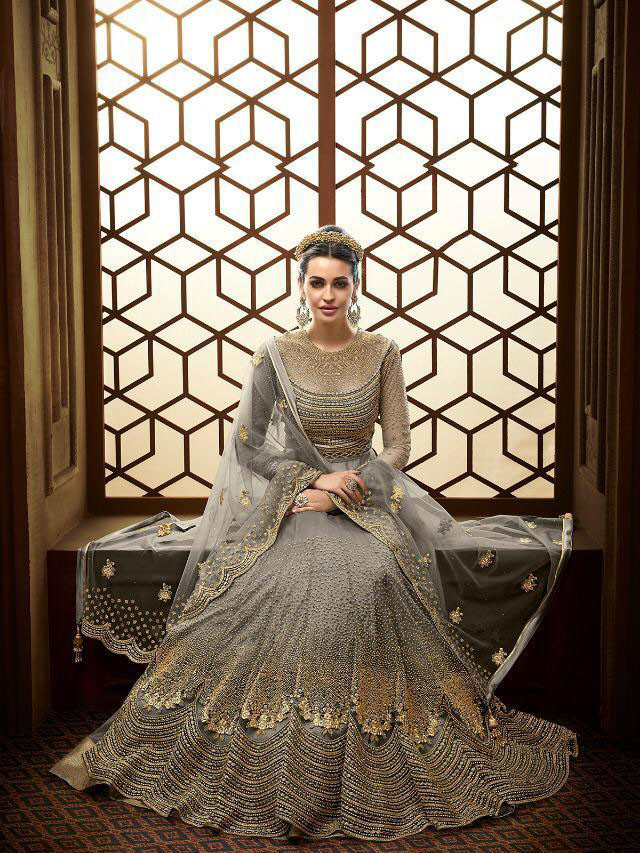 Grey Color Anarkali Wedding Wear Suit