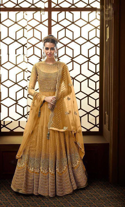 Yellow Colour Anarkali Suit Design