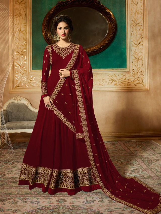 Maroon Colour Anarkali Gown