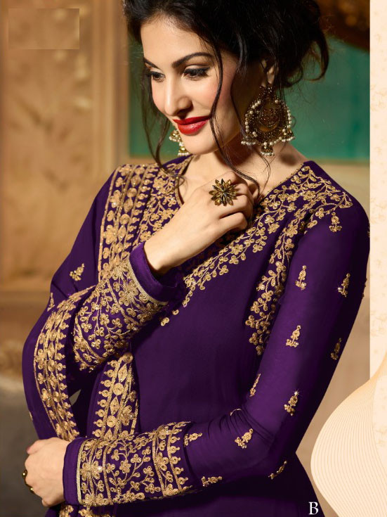 Purple Colour Embroidery Work Anarkali Gown