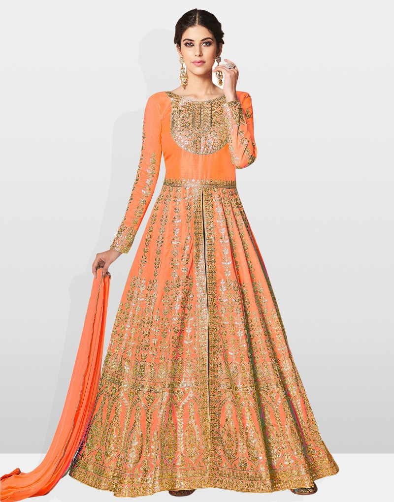 Orange Color Anarkali Suit With Dupatta