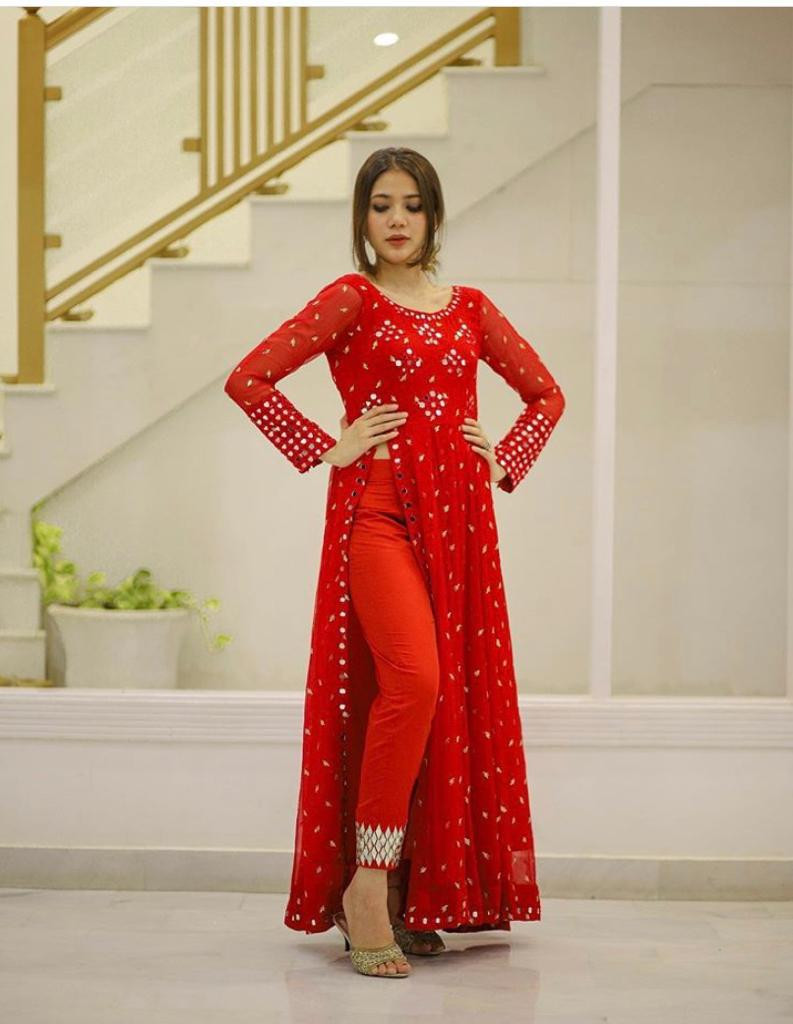 Red Color Western Wear Kurti Design