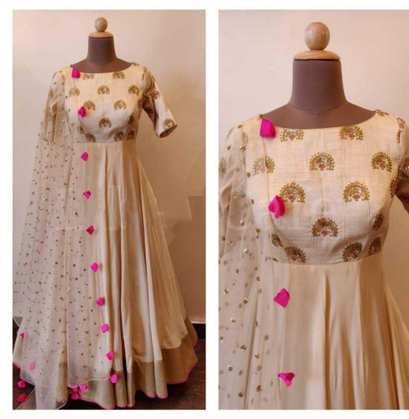 Readymade Cream Color Anarkali Long Gown With Dupatta