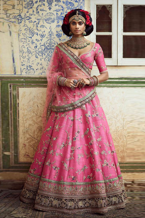 Pink Color Embroidery Work Lehenga With Dupatta
