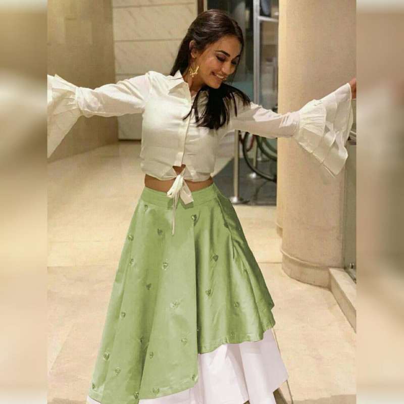 Pista Green And White Party Wear Indowestern Lehenga
