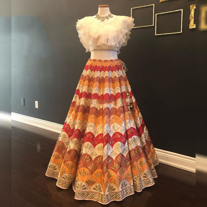 New Multi Color Heavy Digital Print Designer Blouse With Lehenga