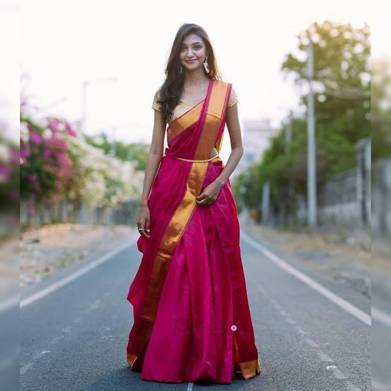 Rani Pink Color Banarasi Lehenga Choli