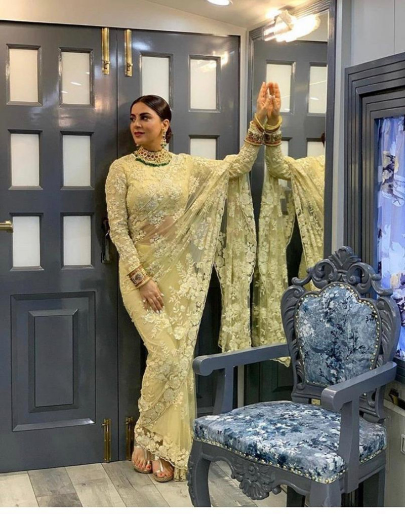 New Olive Color Wedding Wear And Party Wear Heavy Net Saree
