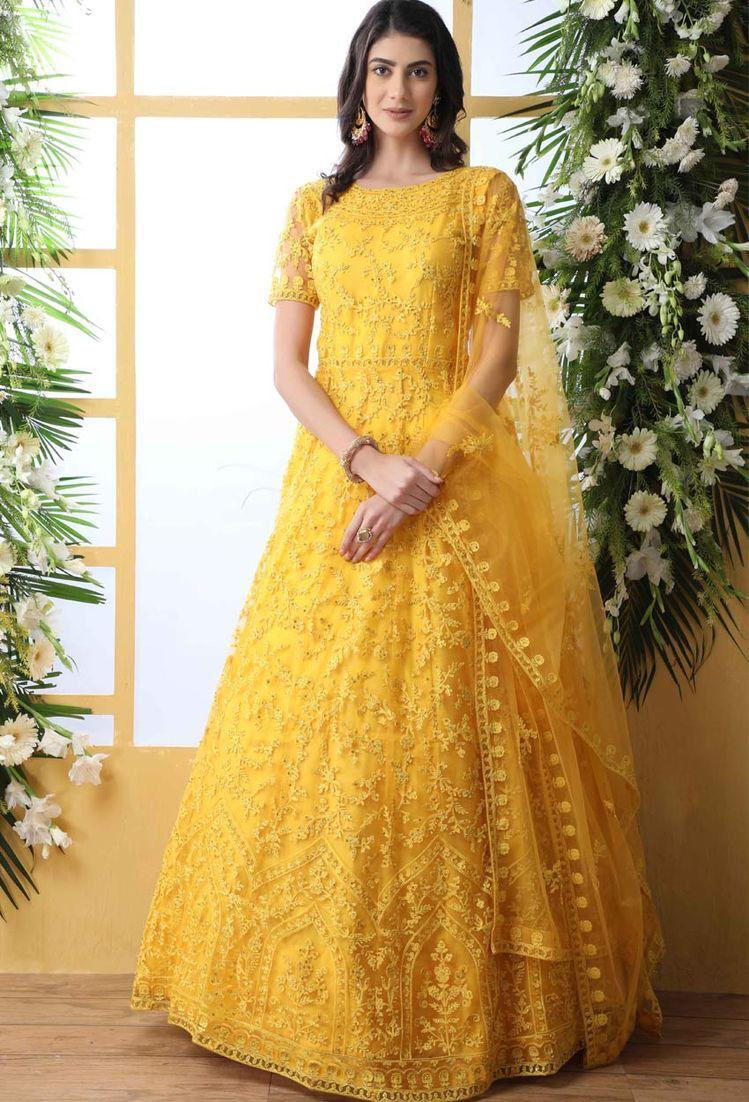 Yellow Color Long Gown For Girls