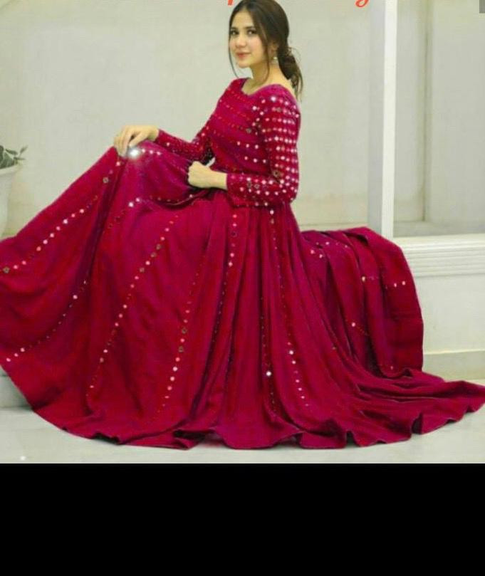 Pink Color Long Gown With Fancy Work