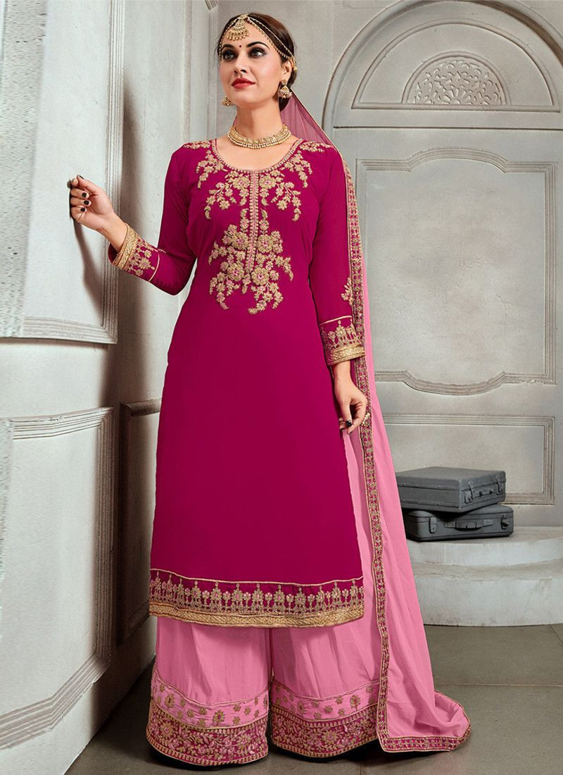 Dark Pink Color Party Wear Georgette Dress Material
