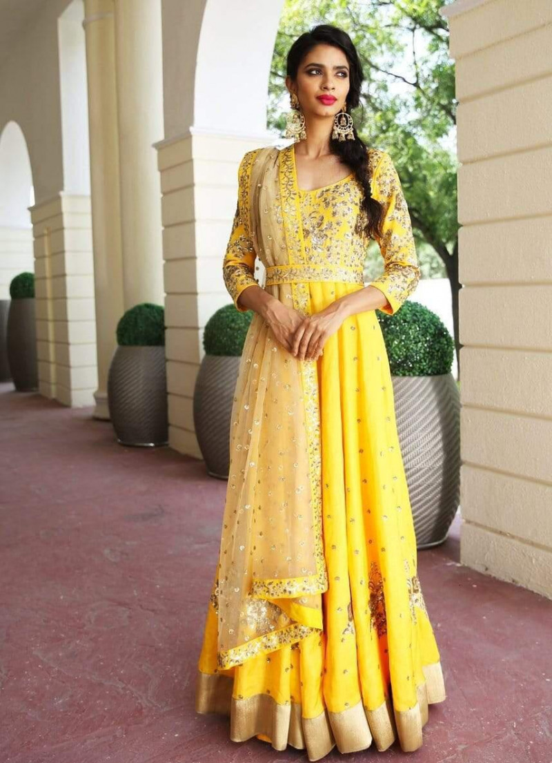 Yellow Color Sequence Work Satin Gown