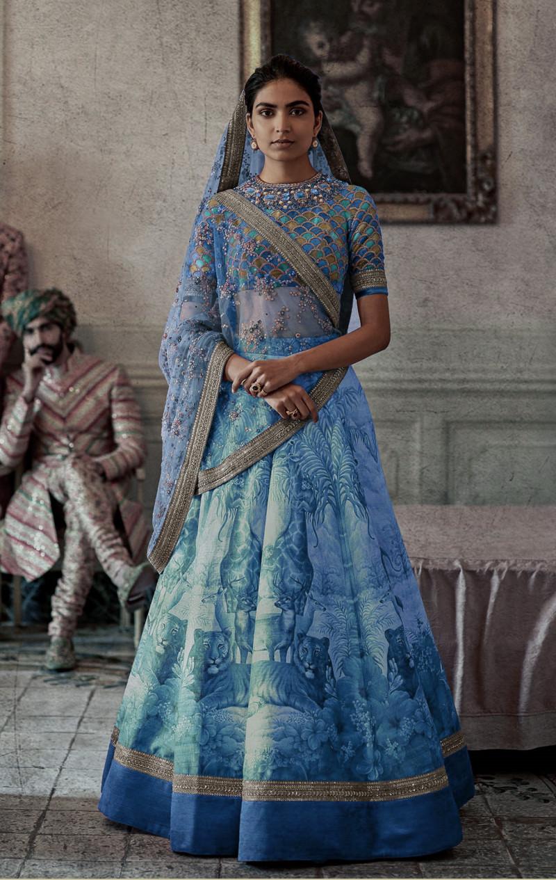 Blue Colored Wedding Wear Embroidered Lehenga Choli