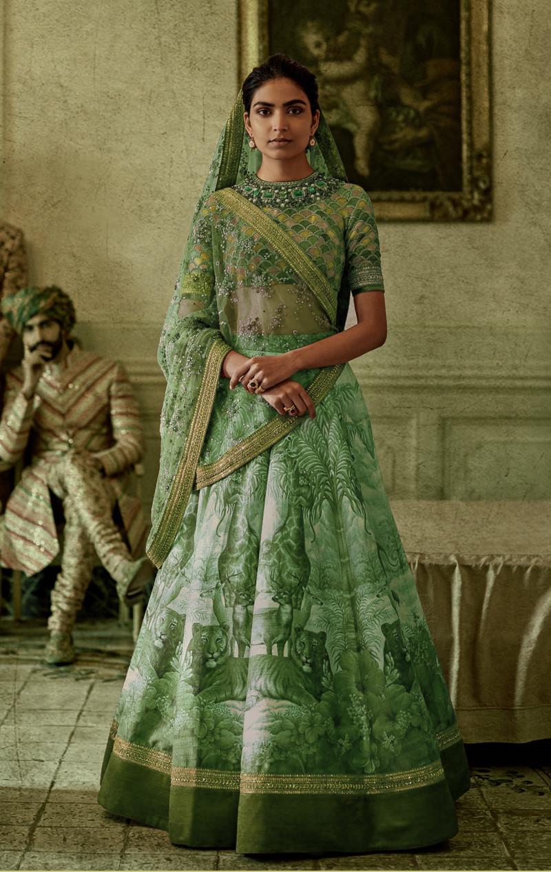 Green Colored Wedding Wear Embroidered Chennai Silk Lehenga