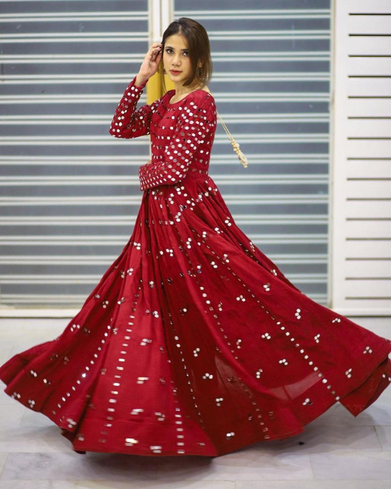 Latest Party Wear Red Color Long Gown