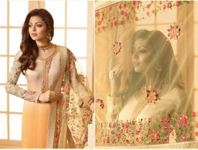 Cream Color Georgette Salwar Suit With Dupatta