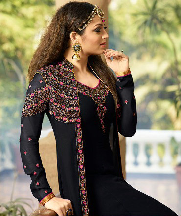 Party Wear New Bollywood Georgette Black Color Suit