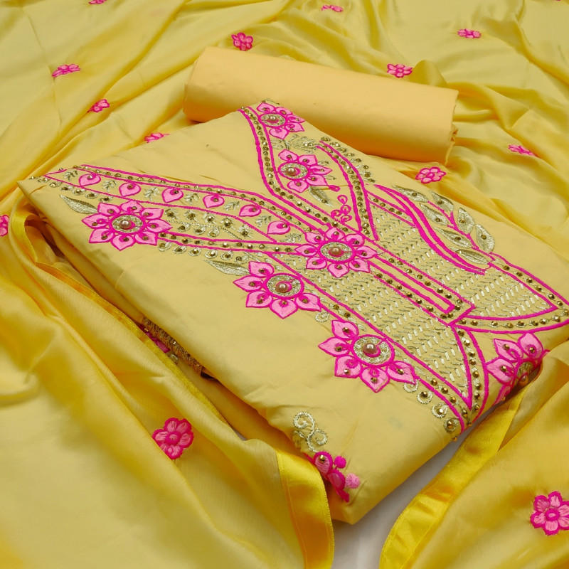 Light Yellow Color Dress Material Online