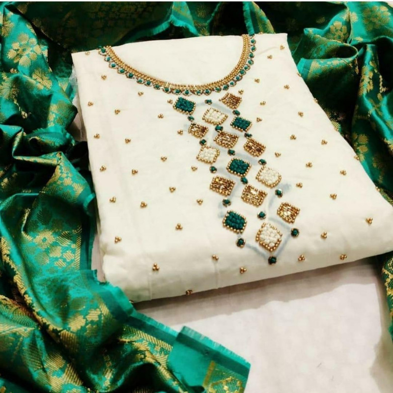 White Color Chanderi Party Wear Dress Material