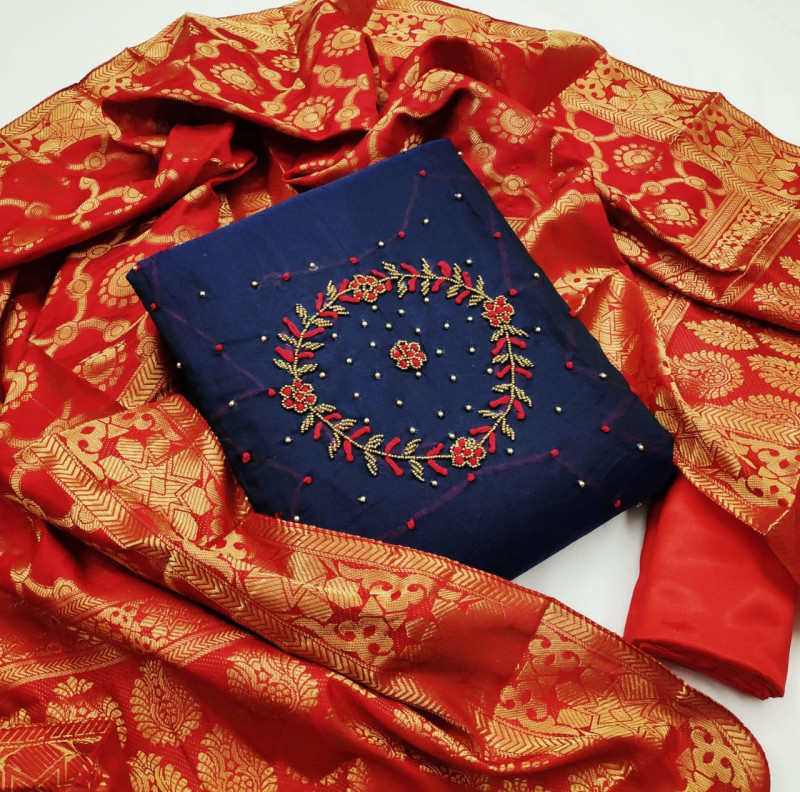 Blue Color Khatli Work Dress Material With Dupatta