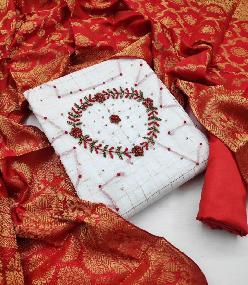 White And Red Color Khatli Work Dress Material