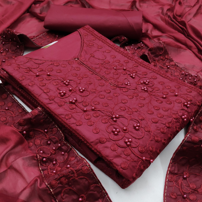 Maroon Color Dress Material For Women