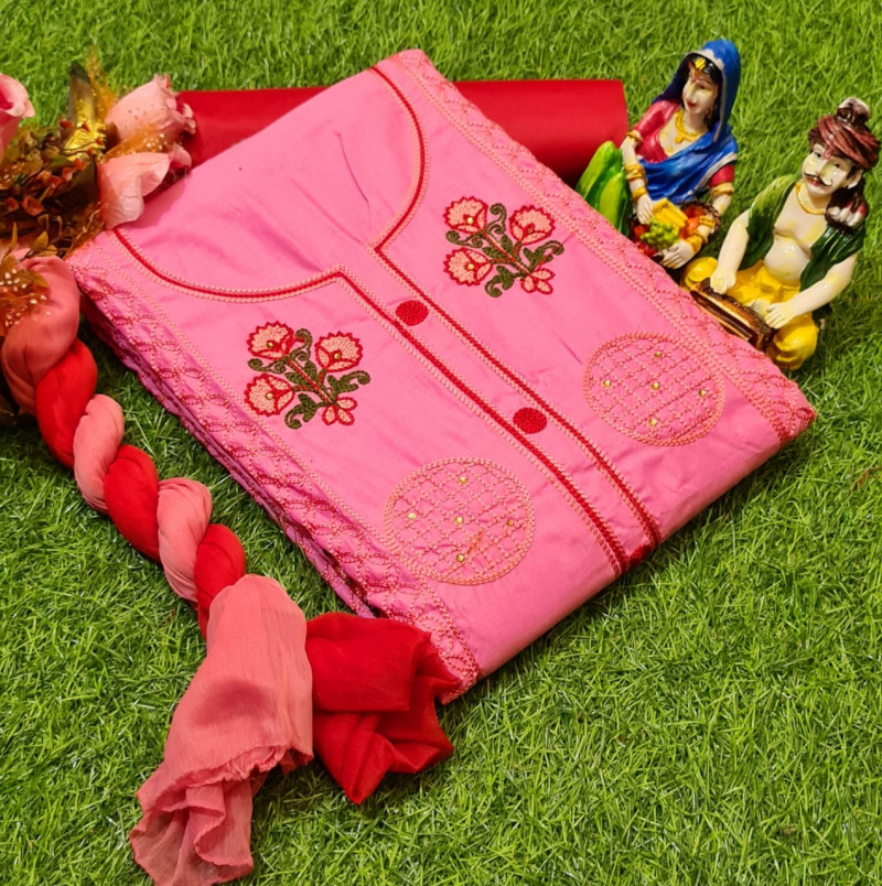 Pink Colored Party Wear Embroidered Dress Material
