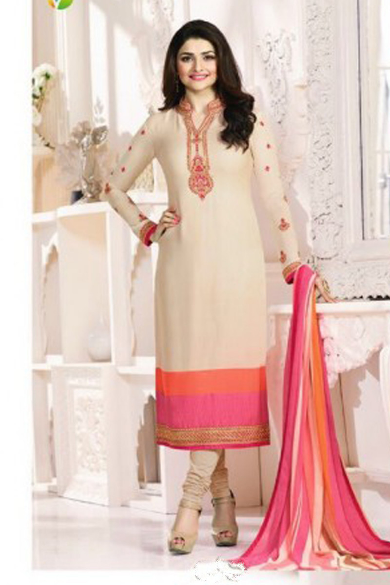 Straight Parachi Cream Color Salwar Suit