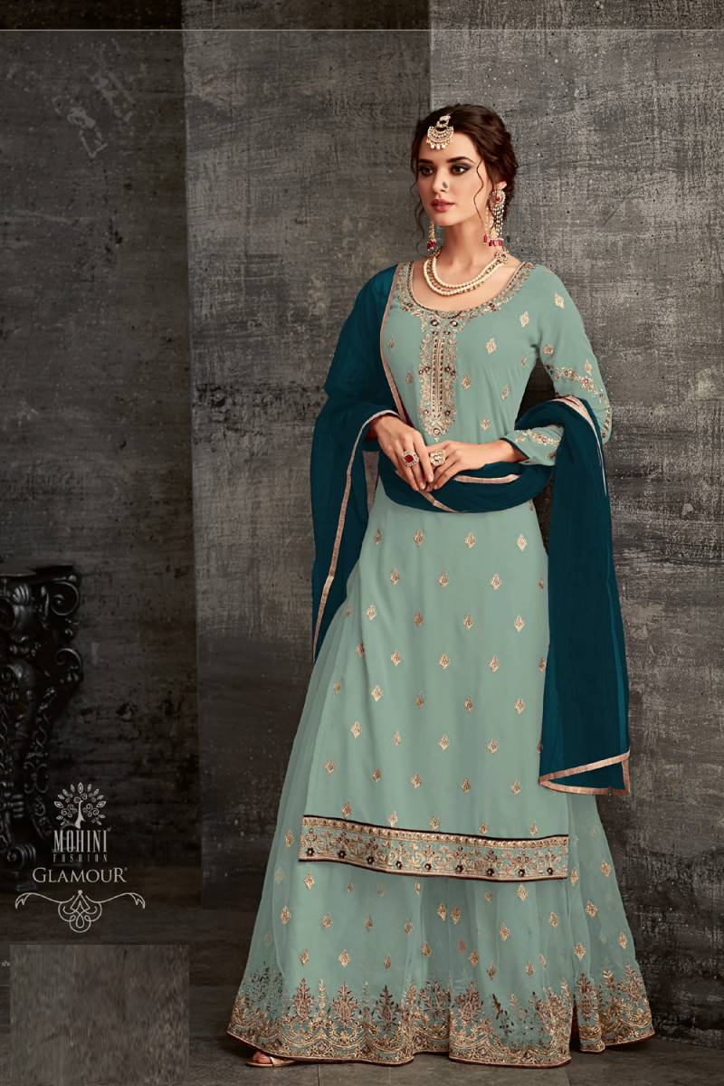 Mohini Sky Blue color Net Embroidery Charming party wear suit