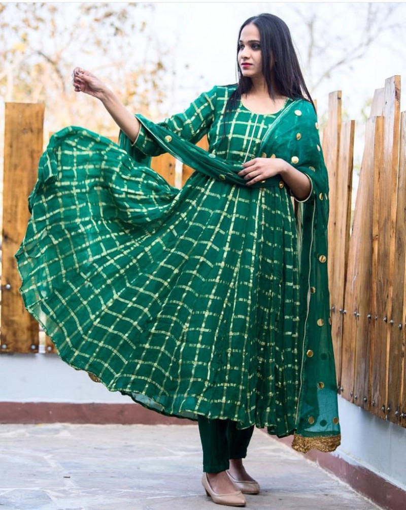 Beautiful Green Color Party Wear Suit