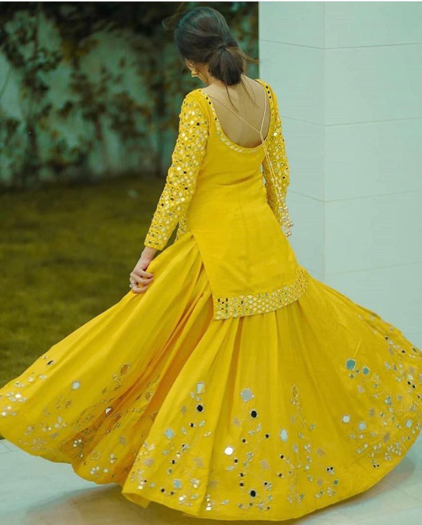 Stylish Lehenga With Mirror Work Yellow Online Top
